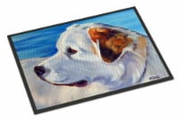 Great Pyrenees at the Beach Indoor or Outdoor Mat 18x27