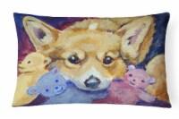 Carolines Treasures  7431PW1216 Corgi with all the toys Fabric Decorative Pillow - 12Hx16W