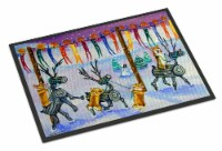 Corgi Log Reindeer Race Christmas Indoor or Outdoor Mat 24x36