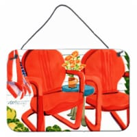 Carolines Treasures  6140DS812 Red Chairs Patio View Wall or Door Hanging Prints