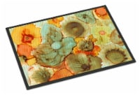 Abstract Flowers Teal and Orange Indoor or Outdoor Mat 24x36