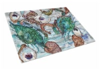 Shrimp, Crabs and Oysters in water Glass Cutting Board Large - 12Hx15W
