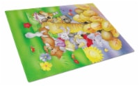 Animals under the coconut tree Glass Cutting Board Large