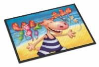 Carolines Treasures  APH0073JMAT Moose on the Beach Indoor or Outdoor Mat 24x36 - 24Hx36W