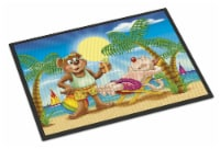 Bears Relaxing at the Beach Indoor or Outdoor Mat 18x27 - 18Hx27W