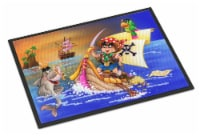 Boy Playing Piriate with Dolphin Indoor or Outdoor Mat 18x27