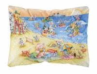 Animals Swimming at the Beach Fabric Decorative Pillow - 12Hx16W
