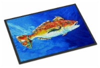 Carolines Treasures  MW1212MAT Red Fish White Spin Indoor or Outdoor Mat 18x27