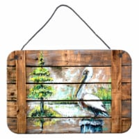 Summer by the Lake White Pelican Wall or Door Hanging Prints - 8HX12W