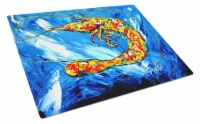 Carolines Treasures  MW1226LCB Ice Blue Shrimp Glass Cutting Board Large - 12Hx15W