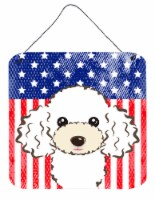 American Flag and White Poodle Wall or Door Hanging Prints
