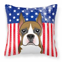 American Flag and Boxer Fabric Decorative Pillow - 14Hx14W