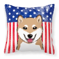 American Flag and Shiba Inu Fabric Decorative Pillow