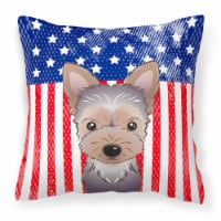 American Flag and Yorkie Puppy Fabric Decorative Pillow