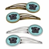 Carolines Treasures BB1201HCS4 Checkerboard Blue Black Pug Barrettes Hair Clips, Set of 4 - 4
