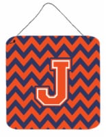 Letter J Chevron Orange and Blue Wall or Door Hanging Prints - 6HX6W