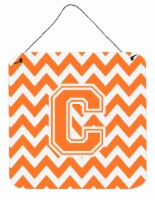 Letter C Chevron Orange and White Wall or Door Hanging Prints