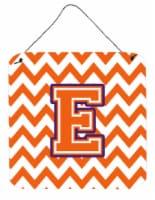 Letter E Chevron Orange and Regalia Wall or Door Hanging Prints