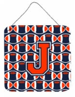 Letter J Football Orange, Blue and white Wall or Door Hanging Prints - 6HX6W
