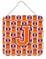 Letter J Football Orange, White and Regalia Wall or Door Hanging Prints - 6HX6W