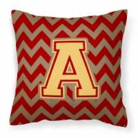 Letter A Chevron Garnet and Gold  Fabric Decorative Pillow