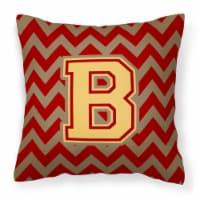 Letter B Chevron Garnet and Gold  Fabric Decorative Pillow