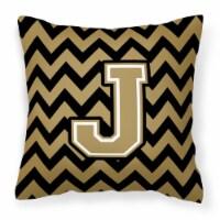 Letter Chevron Black and Gold  Fabric Decorative Pillow CJ1050