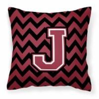 Letter J Chevron Garnet and Black  Fabric Decorative Pillow