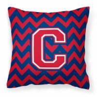 Letter Chevron Yale Blue and Crimson Fabric Decorative Pillow CJ1054