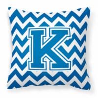 Letter K Chevron Blue and White Fabric Decorative Pillow - 14Hx14W
