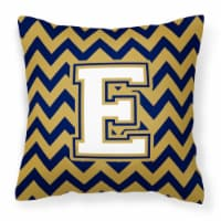 Letter E Chevron Navy Blue and Gold Fabric Decorative Pillow