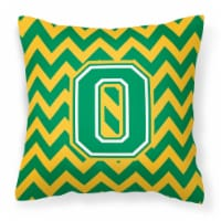 Letter O Chevron Green and Gold Fabric Decorative Pillow