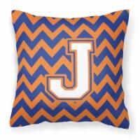 Letter J Chevron Blue and Orange #3 Fabric Decorative Pillow - 14Hx14W