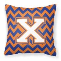 Letter X Chevron Blue and Orange #3 Fabric Decorative Pillow
