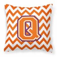 Letter Q Chevron Orange and Regalia Fabric Decorative Pillow