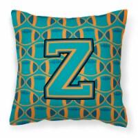 Letter Z Football Aqua, Orange and Marine Blue Fabric Decorative Pillow