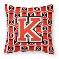 Letter K Football Scarlet and Grey Fabric Decorative Pillow