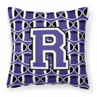 Letter R Football Purple and White Fabric Decorative Pillow