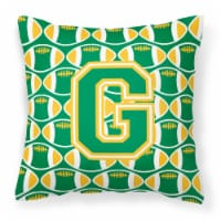 Letter G Football Green and Gold Fabric Decorative Pillow