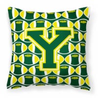 Letter Y Football Green and Yellow Fabric Decorative Pillow