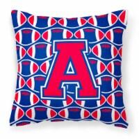 Letter A Football Harvard Crimson and Yale Blue Fabric Decorative Pillow