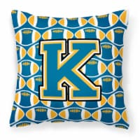 Letter K Football Blue and Gold Fabric Decorative Pillow