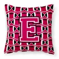 Letter E Football Crimson and White Fabric Decorative Pillow