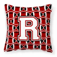 Letter R Football Cardinal and White Fabric Decorative Pillow