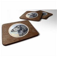 Carolines Treasures 7064FC Flat Coated Retriever Foam Coaster, 3.5 x 0.25 x 3.5 in. - Set of