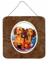 Long Hair Red Dachshund Two Peas Wall or Door Hanging Prints - 6HX6W