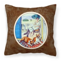 Carolines Treasures  7068PW1414 Lady with her Boxer Fabric Decorative Pillow - 14Hx14W