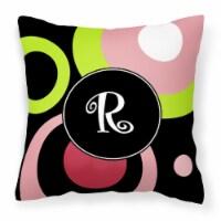 Letter R Monogram - Retro in Black Fabric Decorative Pillow - 14Hx14W
