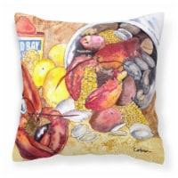 Carolines Treasures  8719PW1414 Lobster with Old Bay Fabric Decorative Pillow - 14Hx14W