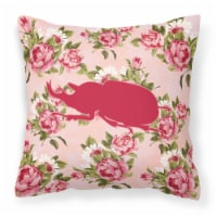 Beetle Shabby Chic Pink Roses  Fabric Decorative Pillow